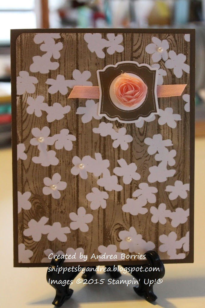 Card made with Hardwood background stamp and the flower pattern from the Irresistibly Yours DSP.