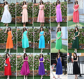 2018 15-Color Short Sleeve Chiffon Past Knee Length Dress