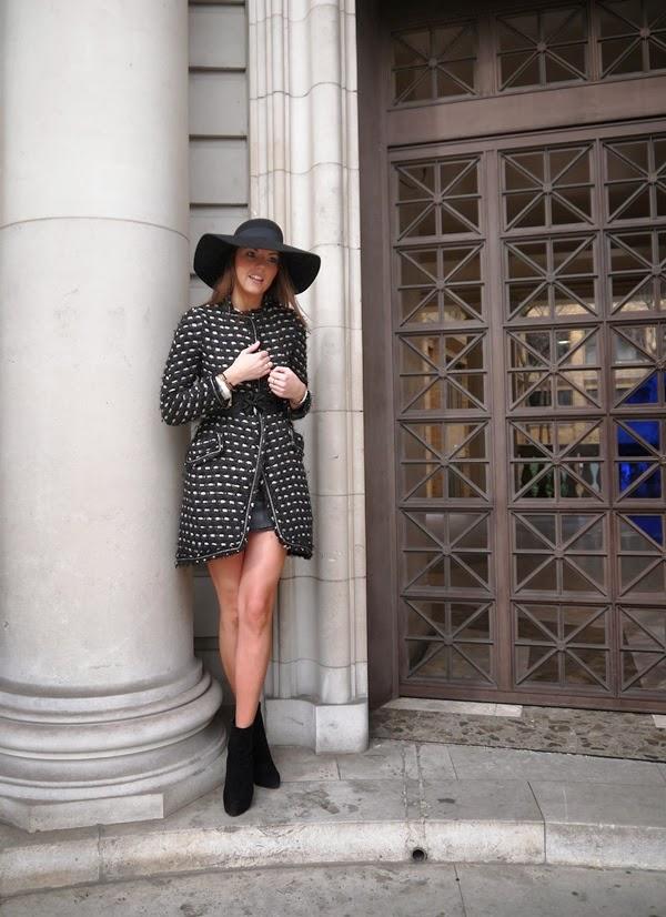 Tweed wool coat and felt hat on Curzon Street in Mayfair