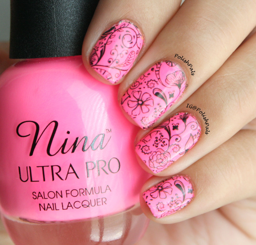 Polish Pals: Hot Pink Floral Nails