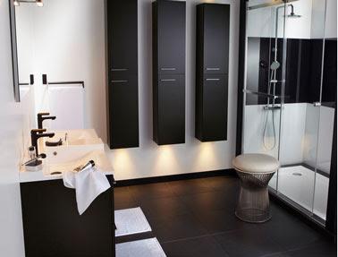 The ba os y muebles cuarto de ba o en gris negro y - Bano de color negro ...