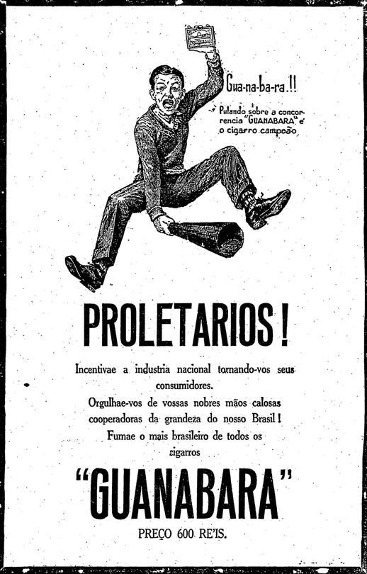 Incentivo para consumo de produtos brasileiros em 1929. Cigarros Guanabara.