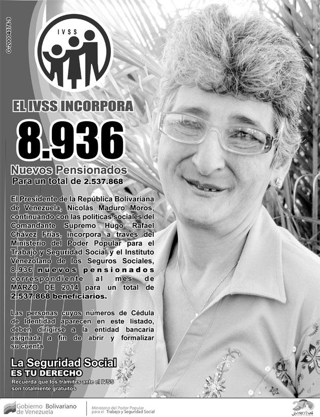Listado de pensión amor mayor y ivss (23/02/2014)