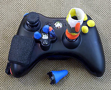 Adapted Xbox Joypad from Evil Controllers with Sugru and foam D.I.Y. adaptation