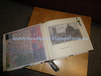 Interior de álbum de fotos con una transferencia sobre papel