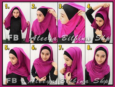Cara Memakai Jilbab Pashmina Model Gantung