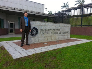 Intern Caleb Lenard in front of the U.S. Embassy in Panama.
