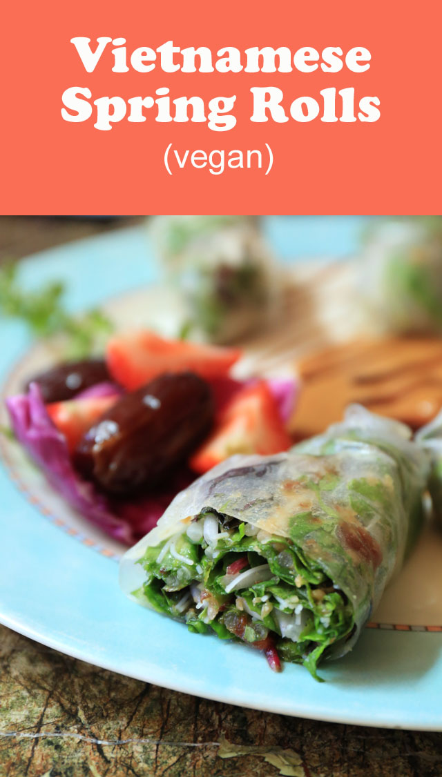 Vietnamese Spring Rolls recipe from the River City Grill in Yuma, Arizona! I enjoyed these while on a trip for the Natural Delights Medjool Dates Blogger Summit! They are super easy to make at home. #vegan