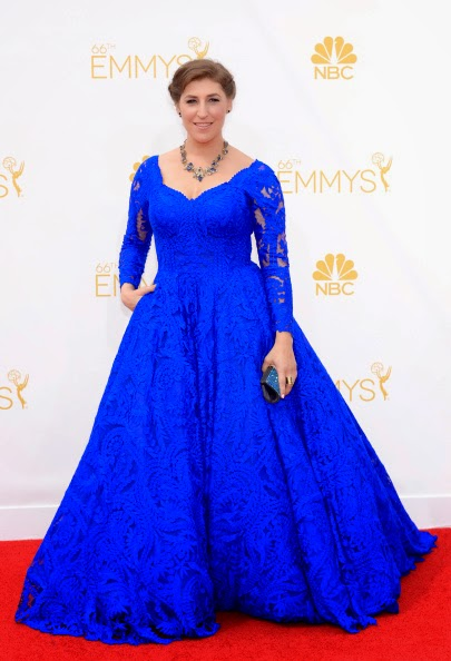 Mayim Bialik in Oliver Tolentino Couture at the 2014 Emmys‏