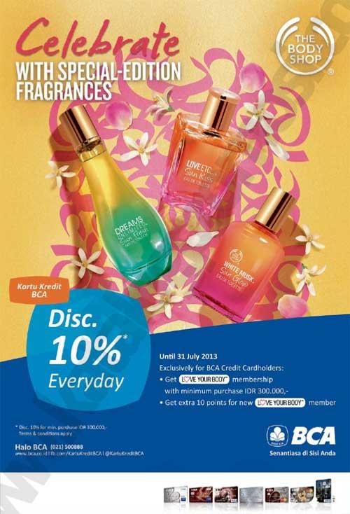 Promo 10% di Body Shop dengan kartu kredit BCA
