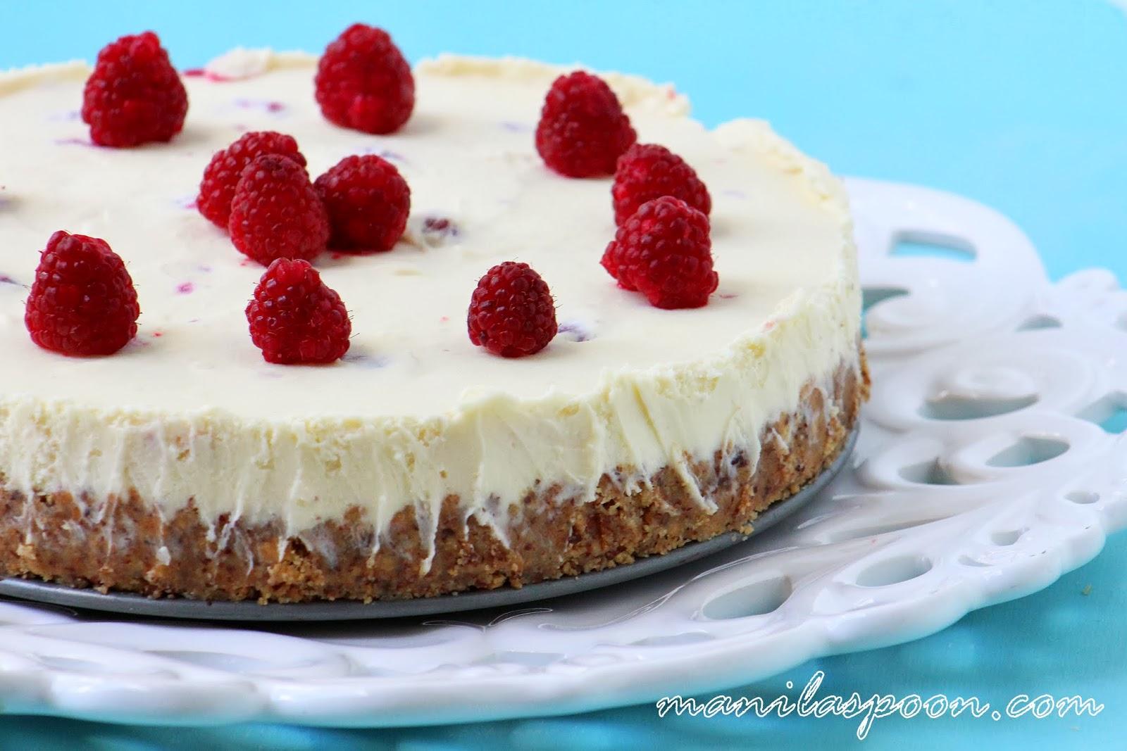 ... BAKE White Chocolate Raspberry Cheesecake with fresh Raspberry Coulis
