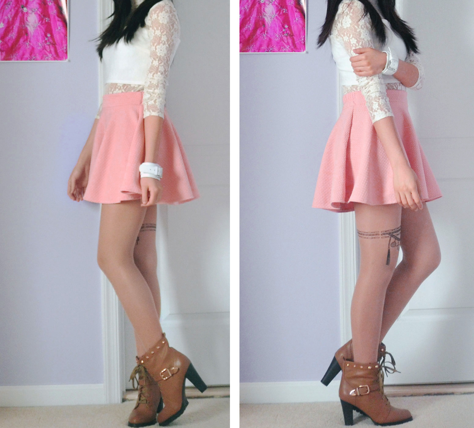 Outfit photos of the Chicnova pastel skater skirt, Snidel lace crop top, tattoo printed tights, brown boots, and white leather bracelet