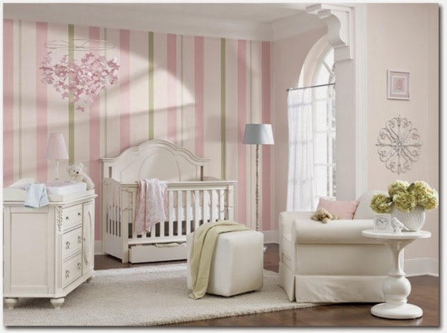 Baby nursery wall paint ideas for Baby girls bedroom designs