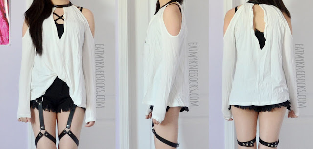 Front, side, and back views of the leather-trim cold shoulder top from SheIn, modeled with a caged bralette and harness shorts.