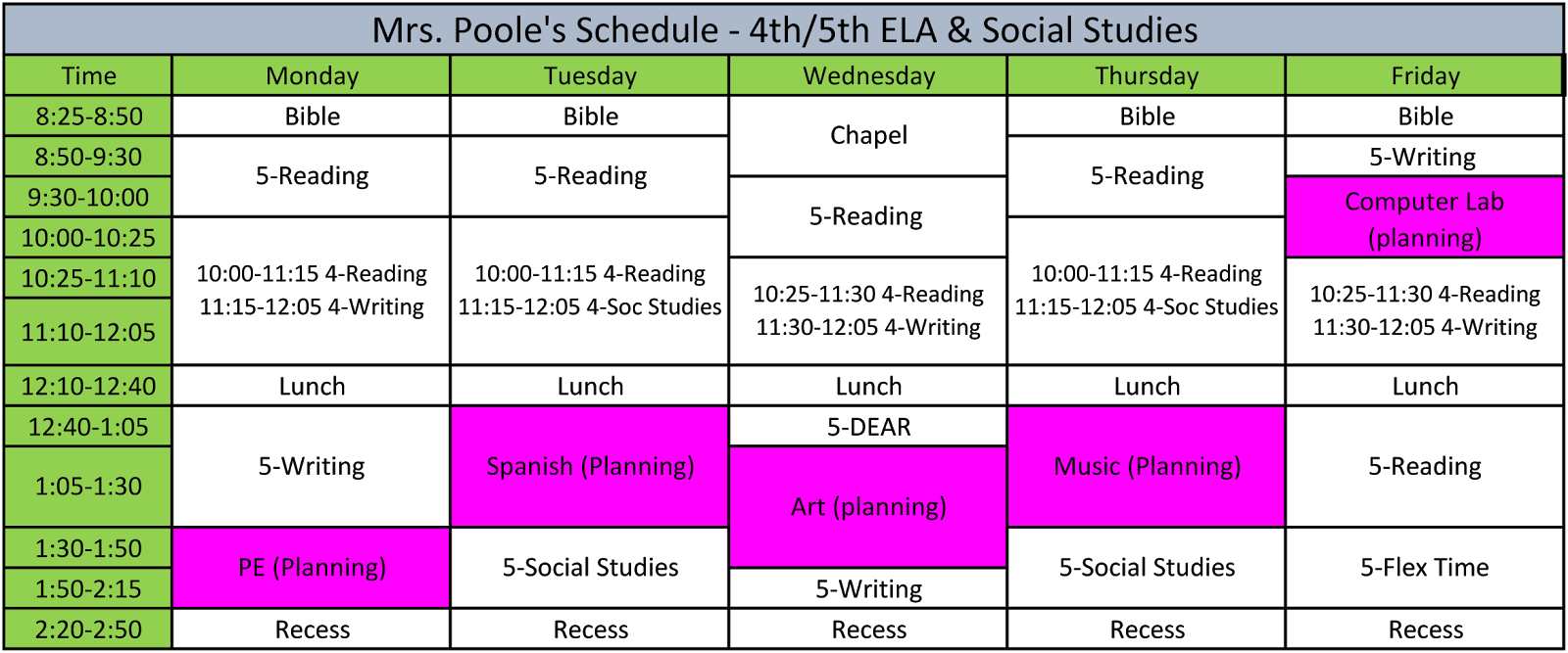 The Poole Pages: What's Your Schedule Linky!