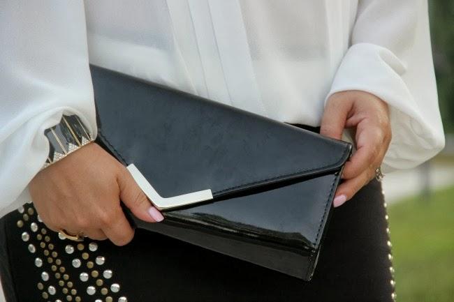 Studded Black Pencil Skirt, Pleated White Blouse, Gallington Black Clutch - Aldo, Accessories - TJ Maxx