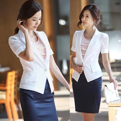 Model Jas Putih Wanita Karir Korea