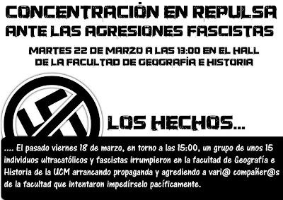 [Madrid] Represión, criminalización y agresiones fascistas en la UCM ANTIFASCISTA