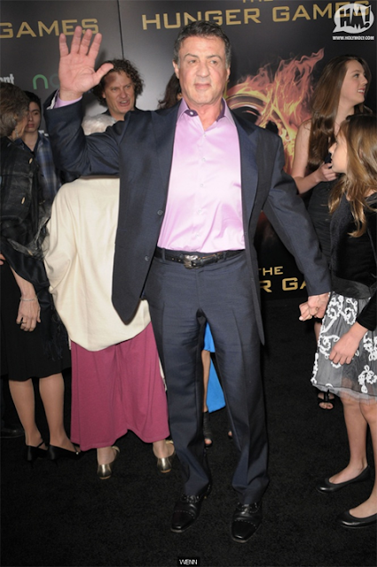 Sylvester Stallone na Premier de Jogos Vorazes