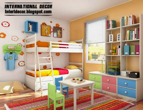 colorful kids bedroom furniture, white bed, bookshelf unit