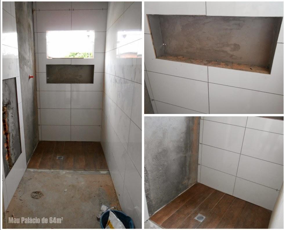 Meu Palácio de 64m² Revestimentos do banheiro quase prontos -> Banheiro Pequeno Revestimento