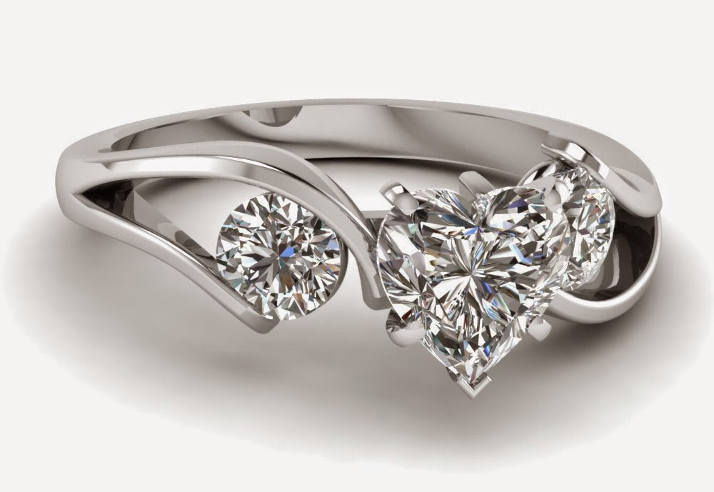 3 stone heart shaped diamond engagement rings sets for women