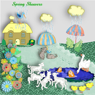 "Free scrapbook kit ""Spring Showers"" from JennyJennyJenny"