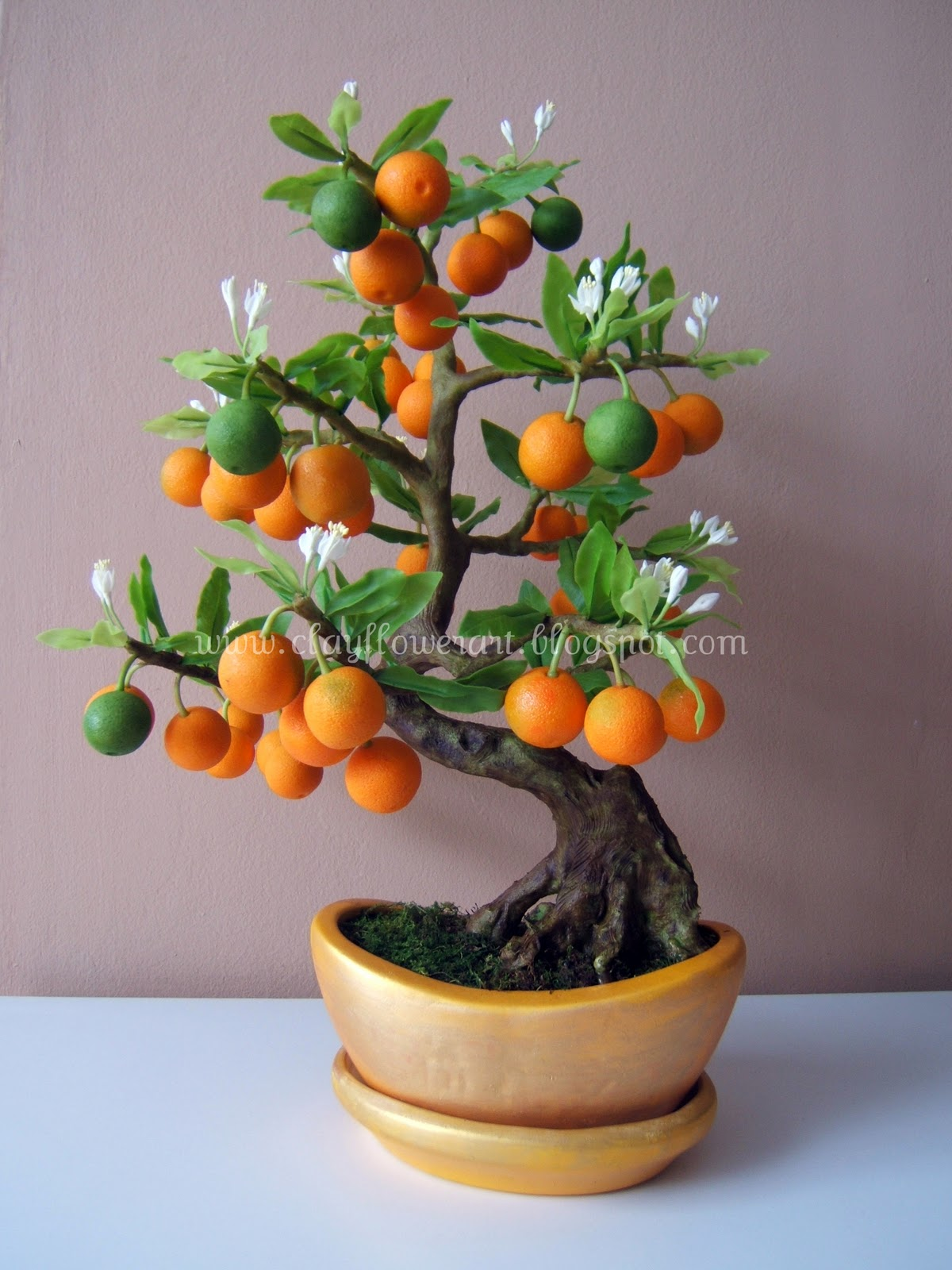Orange Bonsai Clay Flower Art