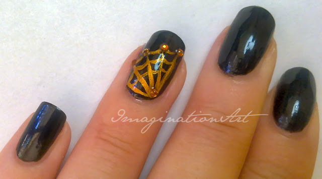 nail art halloween spider ragno ragnatela dark gothic gotico