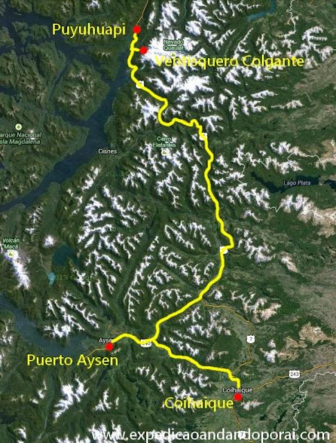 Mapa de Puyuhuapi a Coihaique
