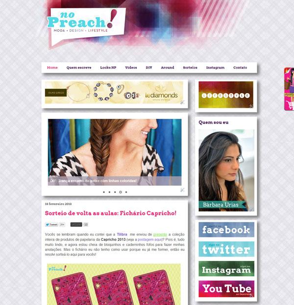 Layout Blog No Preach - Identidade visual