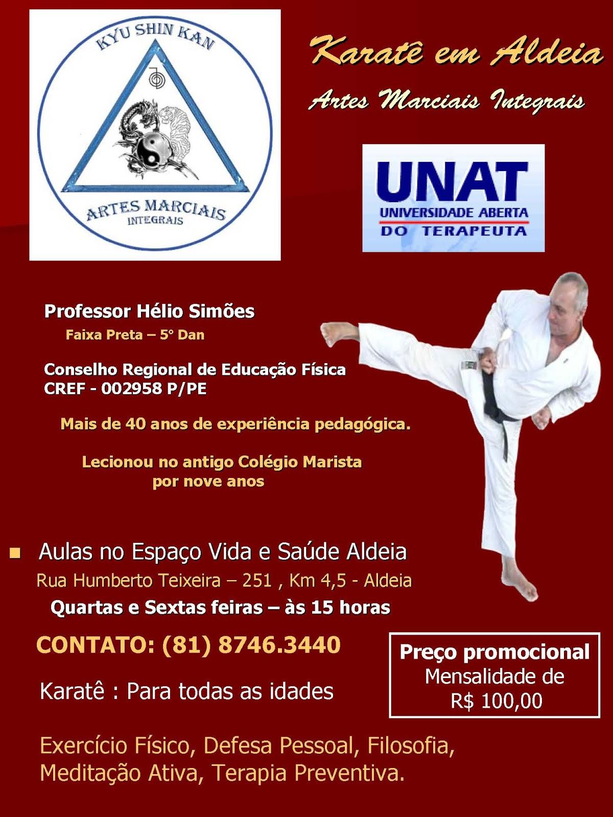 Aulas de Karatê Shotokan ministradas pelo professor Hélio Simões na UNAT, Aldeia, Pernambuco. Contato: (81) 87463440