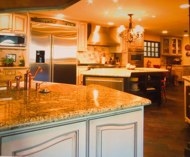 Pan out view of French Country Kitchen