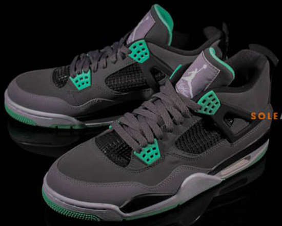 best sneakers e25a4 ea67a Air Jordan 4 Retro Dark Grey Green Glow-Cement Grey-Black August 2013