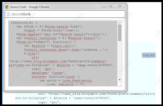 Popup para copiar código