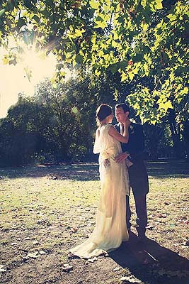bride and groom portrait on a London park
