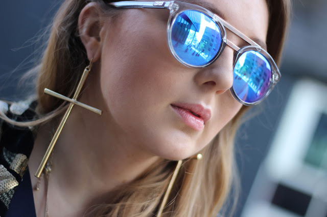 Le specs, blaue glässer, sonnenbrille, trend, sommer 2014,six, beeline, kreuz ohrringe, hipster, modeblogger, hamburg, ootd, style, german fashionblogger,