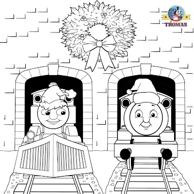 Winter portrait Percy and Thomas the tank engine Christmas Santa hat coloring page for preschoolers