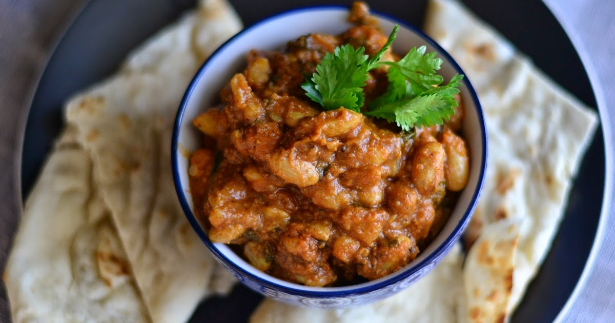 Day 99 - Cranberry Bean Curry in a spiced tomato gravy (North Indian)