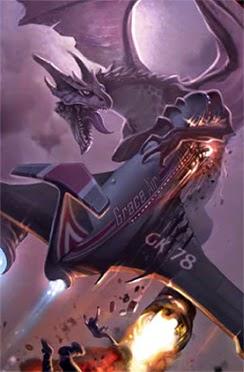 Un dragón atacando un vuelo comercial.