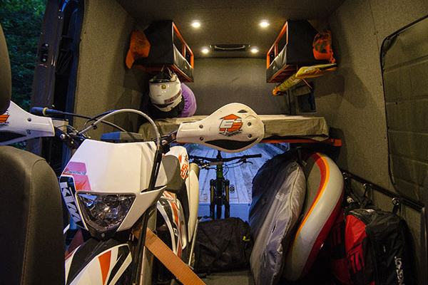 Outside Van: Lava Flow Interior Gear and Bike Stash