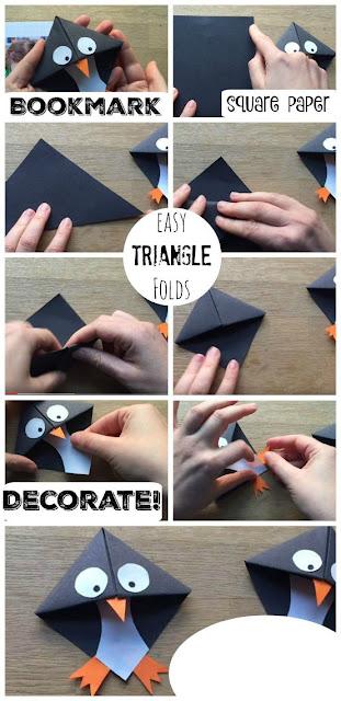 cara mudah membuat origami penanda buku unik