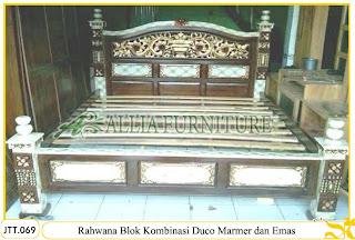 Tempat tidur ukiran kayu jati Rahwana Blok duco marmer dan Emas