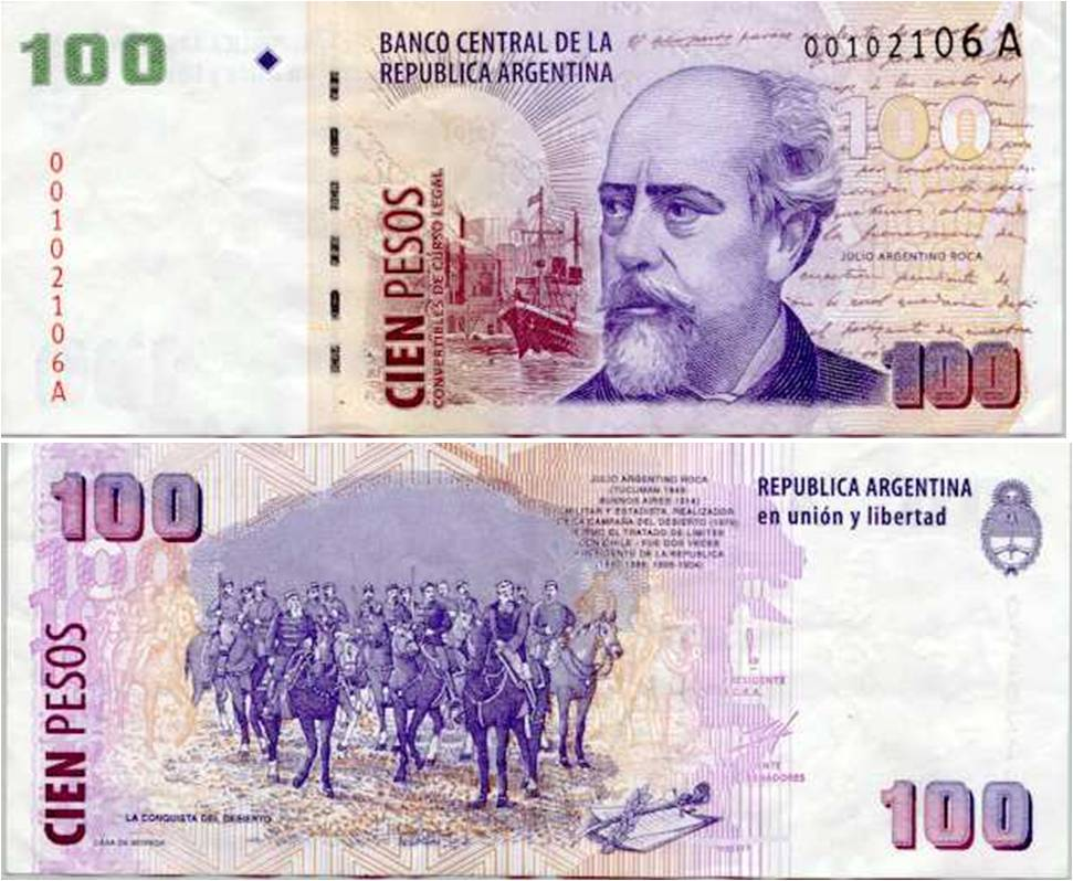 Resultado de imagen para BILLETE DE 100 PESOS ARGENTINOS