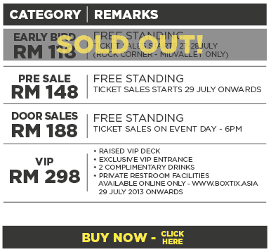 Tickets Category for DJ Tiesto Live in Malaysia 2013