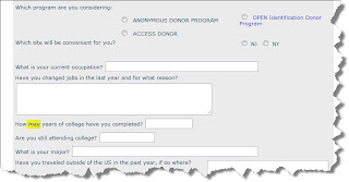 Sperm Donor Online Application