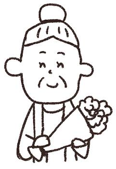 敬老の日のイラスト「花とおばあさん」 線画