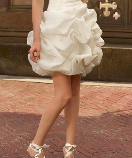 Vestido de Novia Corto Falda Globo, Strapless, sin Mangas