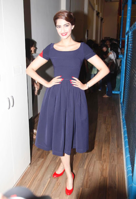 Sonam Kapoor Looks Ravishing In a Blue Dress At At Go Bonkers Launch in Colaba