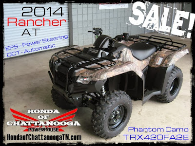 2014 Rancher AT 420 EPS Power Steering Sale Price Honda Chattanooga TN ATV Dealer TRX420FA2E Phantom Camo